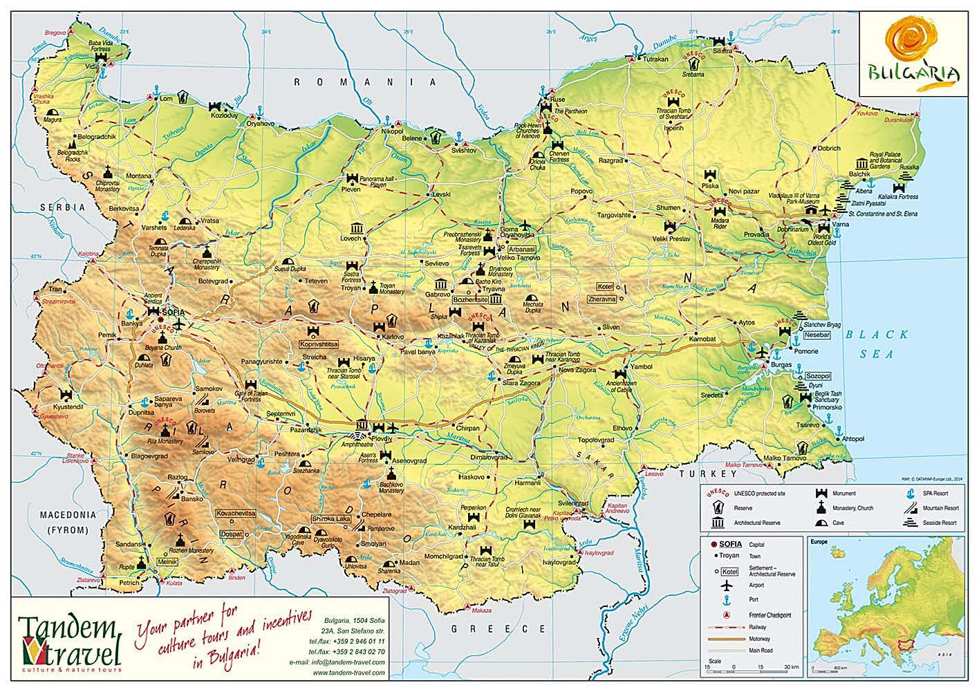 Map of Bulgaria Tandem Travel
